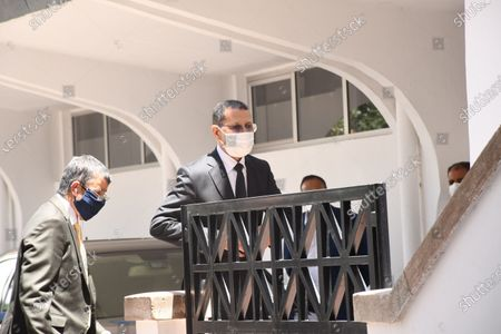 Stock Image of Moroccan Prime Minister Saad Eddine El Othmani (C) is seen wearing a face mask in Rabat, Morocco, May 18, 2020. Moroccan government has decided to extend the country's state of emergency for three more weeks until June 10, announced Head of Government Saad Eddine El Othmani on Monday in a parliamentary hearing session.
