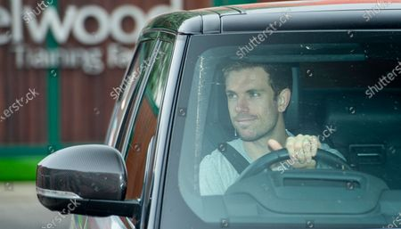Liverpool's Jordan Henderson leaves after a training session the Melwood training facility in Liverpool, Britain, 19 May 2020. English Premier League clubs resumed training activities in small groups amid the ongoing SARS-CoV-2 coronavirus pandemic which causes the COVID-19 disease.