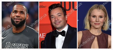 """This combination photo shows, from left, Los Angeles Lakers forward LeBron James before an NBA basketball game, in New York, Jimmy Fallon at the Time 100 Gala on April 23, 2019, in New York and Kristen Bell at the world premiere of """"Frozen 2"""" on Nov. 7, 2019, in Los Angeles. The International Academy of Digital Arts and Sciences announced that James, Fallon and Bell are among the 2020 Webby Award winners for internet excellence"""