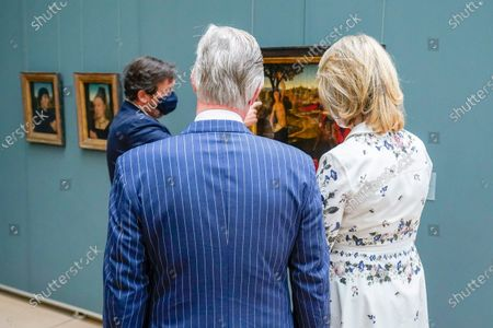 Michel Draguet, Queen Mathilde and King Philippe with mouth masks