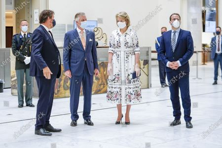 Stock Photo of Michel Draguet, Queen Mathilde, King Philippe and David Clarinval with mouth masks