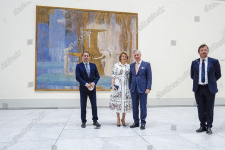 Michel Draguet, Queen Mathilde, King Philippe and David Clarinval