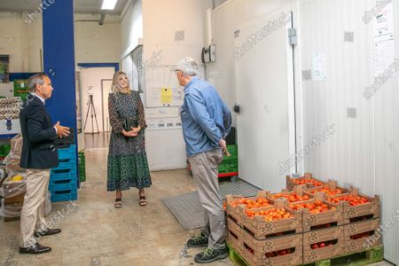 Stock Image of Queen Maxima during a working visit to the distribution center of the Food Bank Delft. The Delft Food Bank Foundation wants to contribute to the fight against poverty by distributing weekly food packages to people who are (temporarily) in financial need.The visit takes place in the context of the outbreak of the corona virus (COVID-19).