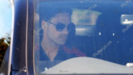 Arsenal manager Mikel Arteta arrives at the English Premier League side's training complex at London Colney, near St Albans, Britain, 19 May 2020. English Premier League clubs resumed training activities in small groups as Britain's lockdown eases amid the ongoing SARS-CoV-2 coronavirus pandemic which causes the COVID-19 disease.