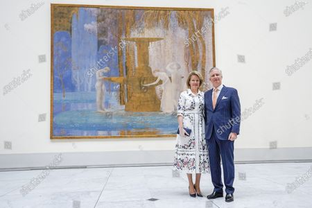 Belgium Queen Mathilde (L) and Belgium King Philippe pose during a visit of the Royal Museum of Fine Arts of Belgium at the first day of re-opening amid the coronavirus crisis in Brussels, Belgium, 19 May 2020. Belgium eased lockdown measures in place to curb the spread of the COVID-19 pandemic, caused by the novel coronavirus.
