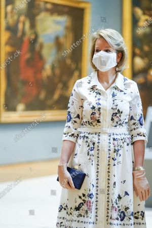 Belgium Queen Mathilde wears a face mask during a visit of the Royal Museum of Fine Arts of Belgium at the first day of re-opening amid the coronavirus crisis in Brussels, Belgium, 19 May 2020. Belgium eased lockdown measures in place to curb the spread of the COVID-19 pandemic, caused by the novel coronavirus.