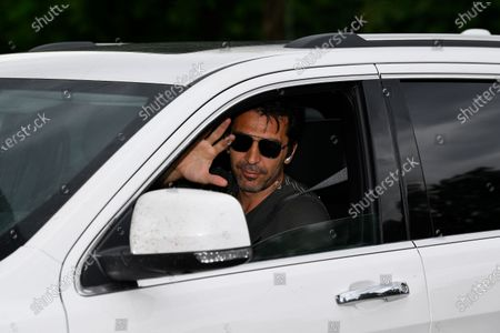 Stock Photo of Gianluigi Buffon exit in his car to resume training after a quarantine on May 19, 2020 at the club's Continassa training ground in Turin, as the country's lockdown is easing after over two months, aimed at curbing the spread of the COVID-19 infection, caused by the novel coronavirus.