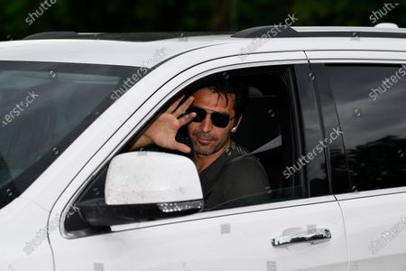 Stock Image of Gianluigi Buffon exit in his car to resume training after a quarantine on May 19, 2020 at the club's Continassa training ground in Turin, as the country's lockdown is easing after over two months, aimed at curbing the spread of the COVID-19 infection, caused by the novel coronavirus.