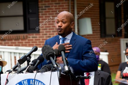 Chris Stewart, an attorney for the mother of Ahmaud Arbery, speaks during a news conference, in East Point, Georgia. Stewart spoke at a news conference held by the Atlanta branch of the NAACP. After a video of the shooting of Arbery emerged on social media, the Georgia Bureau of Investigation arrested Gregory McMichael, 64, and his son, Travis McMichael, 34, and they were jailed on murder and aggravated assault charges