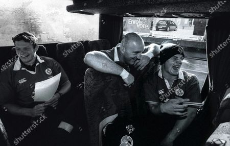 Putting It On The Line. Ireland. Keith Wood and Brian O'Driscoll have a laugh on the bus on the way to training