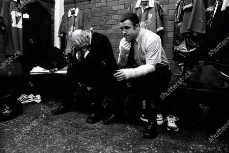 Putting It On The Line 2002. Six Nations Ireland 23/3/2002. The injured Keith Wood and Kevin Maggs feel left out before the game with Italy