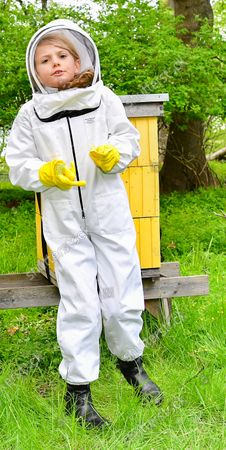 Princess Estelle tending to the beehives at Haga castle. The Crown Princess has been an honorary member of the Swedish Beekeepers' Association since 2002. The beehives at Haga was a wedding gift to the crown princess couple in from the Swedish Beekeepers' Association (SBR).