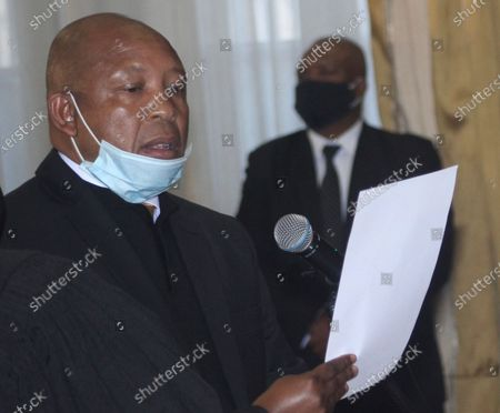 Lesotho's new Prime Minster Moeketsi Majoro is sworn in in Maseru, Lesotho, . Majoro replaces outgoing Thomas Thabane who resigned officially Tuesday after battles with rival factions in his own party, as well as growing discontent around his leadership from other political parties and the public