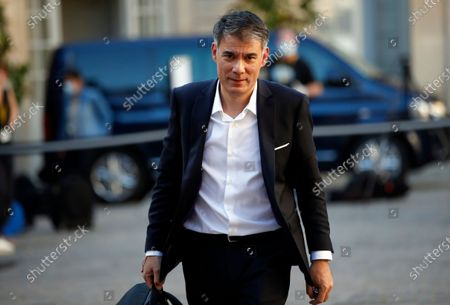 French Socialist party's (PS) Olivier Faure arrives for a meeting gathering French Prime minister, members of the Government and political party leaders on measures to curb the spread of the COVID-19 disease, in Paris