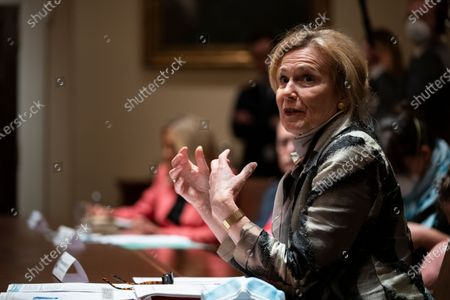 White House coronavirus response coordinator Dr. Deborah Birx speaks during a meeting with President Donald Trump and Arkansas Gov. Asa Hutchinson and Kansas Gov. Laura Kelly, in the Cabinet Room of the White House, in Washington