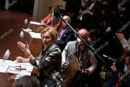 White House coronavirus response coordinator Dr. Deborah Birx speaks as President Donald Trump meets with Arkansas Gov. Asa Hutchinson and Kansas Gov. Laura Kelly, in the Cabinet Room of the White House, in Washington