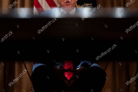 President Donald Trump speaks during a meeting with Arkansas Gov. Asa Hutchinson, and Kansas Gov. Laura Kelly, in the Cabinet Room of the White House, in Washington