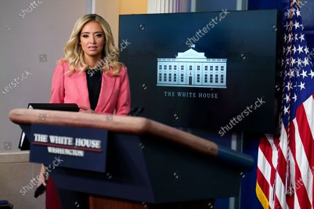 White House press secretary Kayleigh McEnany arrives to speak at a press briefing at the White House, in Washington
