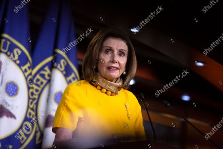 Speaker of the United States House of Representatives Nancy Pelosi (Democrat of California) speaks during her weekly press conference at the United States Capitol in Washington D.C., U.S.,.