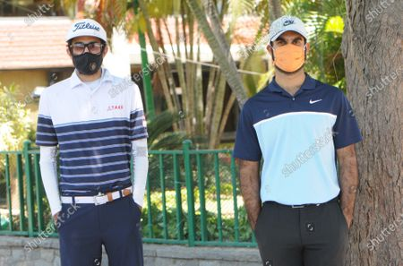 Professional golfers Karandeep Kochhar (L) and Shubhankar Sharma at Chandigarh Golf Club that has opened following relaxations in lockdown on May 20, 2020 in Chandigarh, India.
