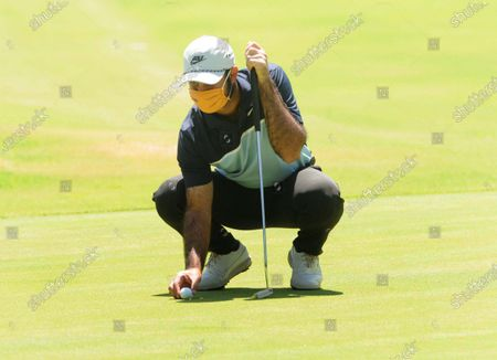 Professional golfer Shubhankar Sharma during practice at Chandigarh Golf Club that has opened following relaxations in lockdown on May 20, 2020 in Chandigarh, India.