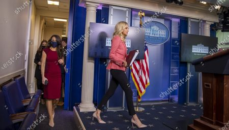 Press Secretary Kayleigh McEnany arrives to give remarks during a press briefing in the James S. Brady Briefing Room of the White House in Washington, DC, USA, 20 May 2020.