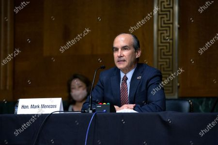 Mark Menezes testifies before the U.S. Senate Committee on Energy and Natural Resources on Capitol Hill in Washington D.C., U.S., as they consider his nomination to be Deputy Secretary of the U.S. Department of Energy.