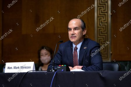 Stock Image of Mark Menezes testifies before the U.S. Senate Committee on Energy and Natural Resources on Capitol Hill in Washington D.C., U.S., as they consider his nomination to be Deputy Secretary of the U.S. Department of Energy.