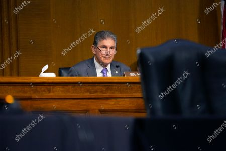 United States Senator Joe Manchin III (Democrat of West Virginia) speaks during the U.S. Senate Committee on Energy and Natural Resources hearing on Capitol Hill in Washington D.C., U.S., as they consider the nomination of Mark Menezes to be Deputy Secretary of the U.S. Department of Energy.
