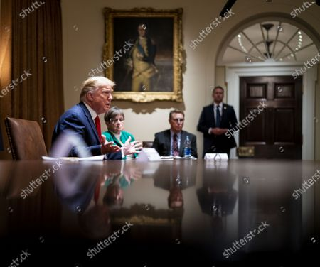 US President Donald J. Trump makes remarks as he attends a meeting with the Arkansas Governor Asa Hutchinson and Kansas Governor Laura Kelly in the Cabinet Room of the White House, Washington, DC, USA, 20 May 2020.