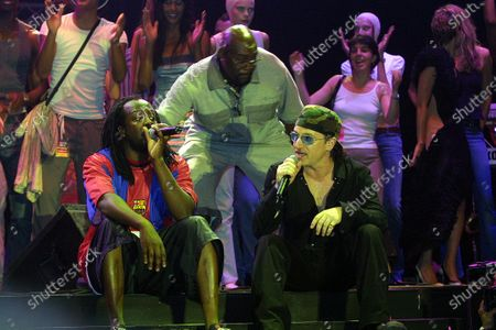 Stock Picture of Bono of U2 and Wyclef Jean