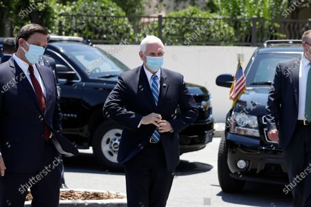 Vice President Mike Pence arrives to deliver personal protective equipment to a nursing home, in Orlando, Fla., as part of the initiative to deliver PPE to more than 15,000 nursing homes across America. Pence is also scheduled to participate in a roundtable discussion with hospitality and tourism industry leaders to discuss their plans for re-opening during the coronavirus outbreak
