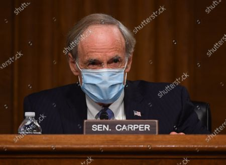 "United States Senator Tom Carper (Democrat of Delaware), ranking member, US Senate Environment and Public Works Committee, delivers opening remarks at a hearing titled ""Oversight of the Environmental Protection Agency"" in the Dirksen Senate Office Building in Washington, DC in Washington, DC."