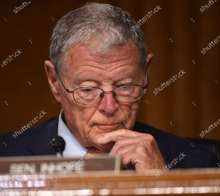 "United States Senator Jim Inhofe (Republican of Oklahoma) listens to opening remarks at a hearing titled ""Oversight of the Environmental Protection Agency"" in the Dirksen Senate Office Building in Washington, DC. Andrew Wheeler, Administrator, United States Environmental Protection Agency (EPA) will be asked about the rollback of regulations by the Environment Protection Agency since the pandemic started in March."