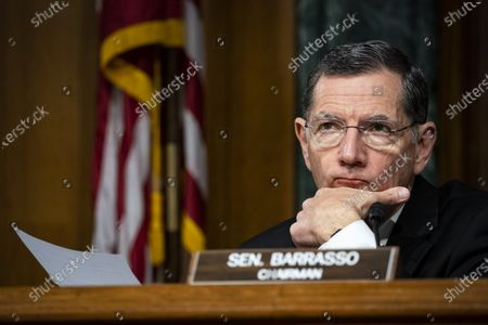 United States Senator John Barrasso (Republican of Wyoming), chairman, US Senate Environment and Public Works Committee, listens during a hearing, on Capitol Hill in Washington, D.C., U.S.,.