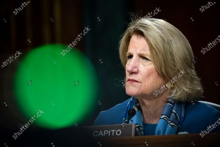 United States Senator Shelley Moore Capito (Republican of West Virginia), listens during a US Senate Environment and Public Works Committee hearing with Andrew Wheeler, administrator of the Environmental Protection Agency (EPA), not pictured, on Capitol Hill in Washington, D.C., U.S.,.