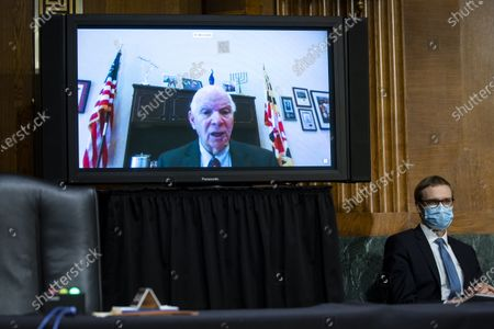 United States Senator Ben Cardin (Democrat of Maryland), speaks virtually during a US Senate Environment and Public Works Committee hearing with Andrew Wheeler, administrator of the Environmental Protection Agency (EPA), not pictured, on Capitol Hill in Washington, D.C., U.S.,.