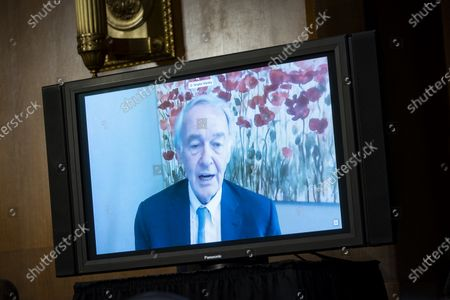 United States Senator Ed Markey (Democrat of Massachusetts), speaks virtually during a Senate Environment and Public Works Committee hearing with Andrew Wheeler, administrator of the Environmental Protection Agency (EPA), not pictured, on Capitol Hill in Washington, D.C., U.S.,.