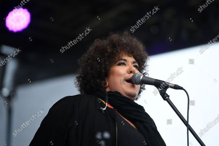Casey Donovan performs live during a drive-in concert at the Robyn Webster Sports Centre in Sydney, Australia, 21 May 2020. The concert was organized as part of the music industry's effort to return to live shows without defying coronavirus restrictions. Up to 600 people were allowed to attend the event.