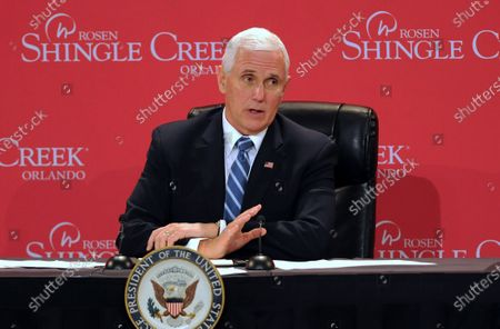 U.S. Vice President Mike Pence participates in a roundtable discussion with Florida Gov. Ron DeSantis and hospitality and tourism industry leaders to discuss Florida's phased economic reopening during the coronavirus pandemic.