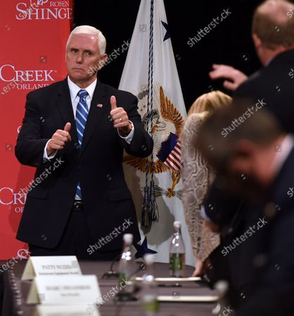 U.S. Vice President Mike Pence gives a thumbs up after participating in a roundtable discussion with Florida Gov. Ron DeSantis and hospitality and tourism industry leaders to discuss Florida's phased economic reopening during the coronavirus pandemic.