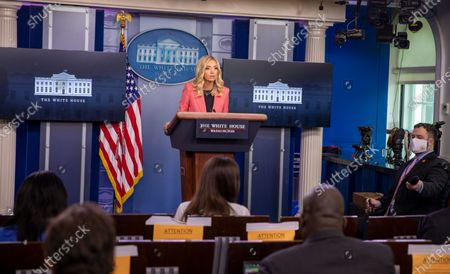 Stock Picture of White House Press Secretary Kayleigh McEnany delivers remarks during a press briefing in the James S. Brady Briefing Room of the White House in Washington, D.C..