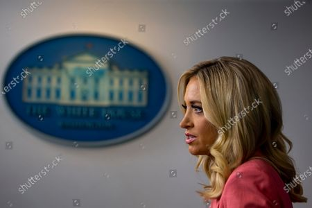 White House Press Secretary Kayleigh McEnany delivers remarks during a press briefing in the James S. Brady Briefing Room of the White House in Washington, D.C..