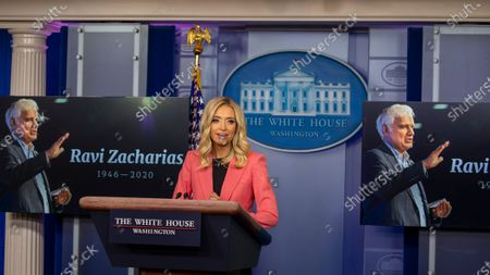 Stock Photo of White House Press Secretary Kayleigh McEnany delivers remarks during a press briefing in the James S. Brady Briefing Room of the White House in Washington, D.C..