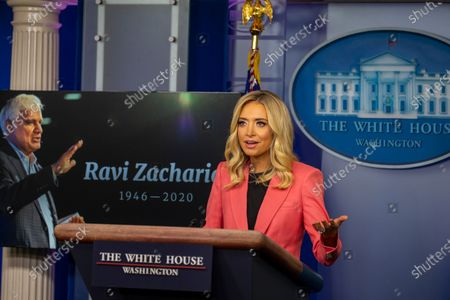 Stock Image of White House Press Secretary Kayleigh McEnany delivers remarks during a press briefing in the James S. Brady Briefing Room of the White House in Washington, D.C..