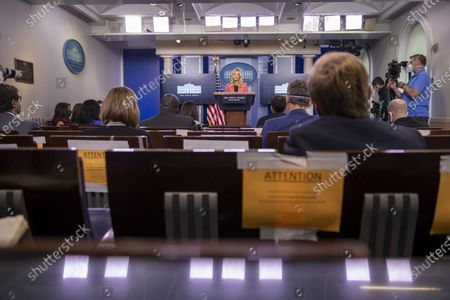 Press Secretary Kayleigh McEnany delivers remarks during a press briefing in the James S. Brady Briefing Room of the White House in Washington, D.C..