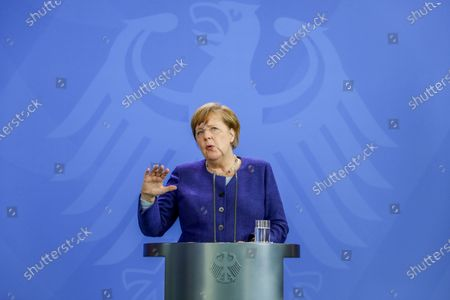 Editorial picture of German Chancellor Angela Merkel press conference, Berlin, Germany - 20 May 2020