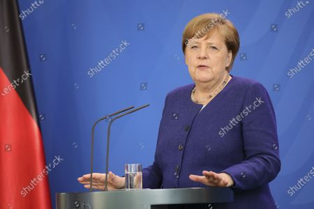 German Chancellor Angela Merkel holds a press conference at the chancellery. German Chancellor Angela Merkel informed about a video conference held with the chairs of international economic and financial organizations, aim to address issues caused by the spread of the coronavirus SARS-CoV-2 which causes the COVID-19 disease.