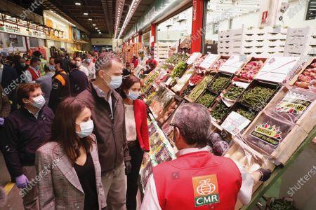 Stock Photo of King Felipe VI, Queen Letizia visit Mercamadrid, the biggest market in Spain