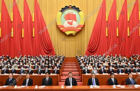 Xi Jinping, Li Keqiang, Li Zhanshu, Wang Huning, Zhao Leji, Han Zheng and Wang Qishan attend the opening meeting of the third session of the 13th National Committee of the Chinese People's Political Consultative Conference (CPPCC) at the Great Hall of the People in Beijing, capital of China, May 21, 2020.